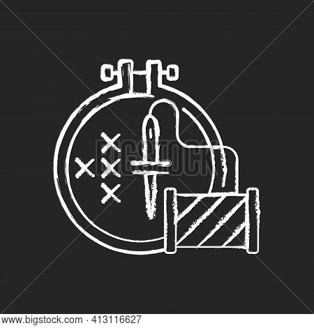Embroidery Chalk White Icon On Black Background. Cross Stitching. Needle With Thread, Spool. Hobby A