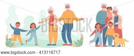 Grandparents And Grandchildren. Kid Run To Visit Old Grandma And Grandpa. Happy Grandmother, Grandfa