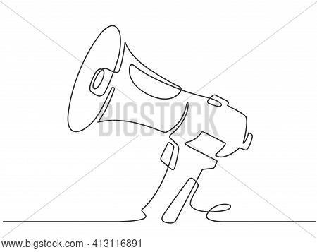 Continuous Line Megaphone. Marketing Promotion Banner With Loudspeaker Or Horn Speaker. Attention, O