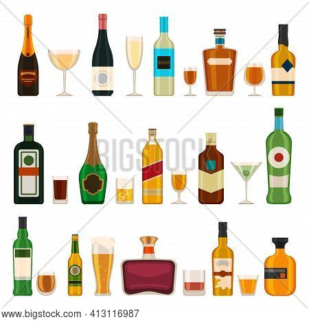 Alcoholic Bottles And Glasses. Alcohol Cocktail Drinks, Champagne, Beer, Brandy And Martini, Gin And