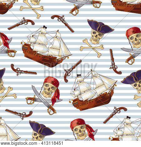 Pirates Seamless Pattern With Jolly Roger Sailboat Guns Sabers On Blue White Horizontal Striped Back