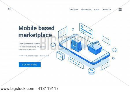 Convenient Banner Of Mobile Application For Shopping