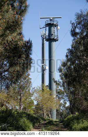 Coastal Surveillance Radar System On Forest. Marine Surveillance Station