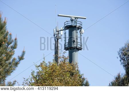 Coastal Surveillance Radar System On Forest. Marine Surveillance Station. Copy Space