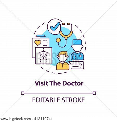 Visit The Doctor Concept Icon. Therapist Appointment. Primary Care, General Practitioner. Family Doc