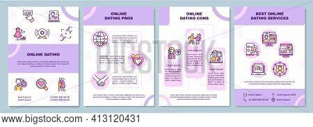 Online Dating Brochure Template. Online Dating Pros. Flyer, Booklet, Leaflet Print, Cover Design Wit