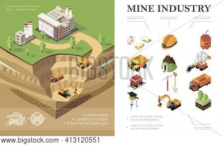 Isometric Mining Industry Concept With Factory Industrial Vehicles Digging Quarry Mine Precious Ston