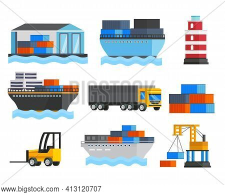 Sea Port Orthogonal Icons Set With Ships And Truck Lighthouse Depot And Freight Loader Isolated Vect