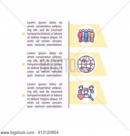 Worldwide Dating Pool Concept Line Icons With Text. Ppt Page Vector Template With Copy Space. Brochu