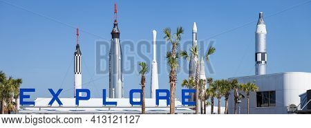 Orlando, Florida, Usa, May 24, 2013: Space Rockets At The Cape Canaveral Space Center In Florida. Wi