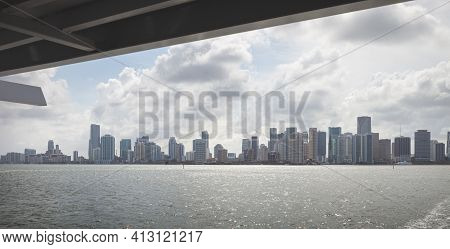 Miami, Florida, Usa, May 27, 2013: View Of Downtown Miami From A Pleasure Boat. Skyscrapers Of The C