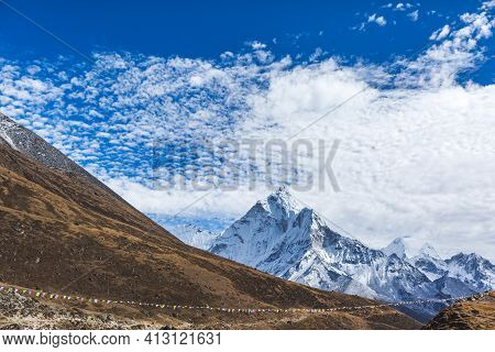 Ama Dablam Mountain View From The Way To Everest Base Camp. Nepal, Sagarmatha National Park