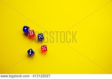Dice Of Red And Sengo Colors Yellow Background