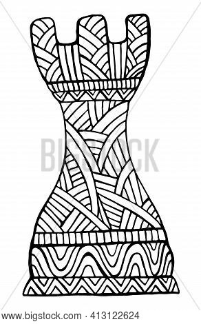 Rook Chess Piece Decorative Pattern Coloring Page For Adults And Kids, Isolated On White.
