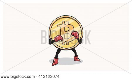 Bitcoin Boxer With Boxing Gloves Character Vector Illustration.
