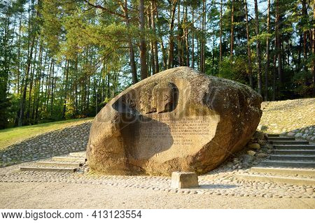 Anyksciai, Lithuania - September 10, 2020: Puntukas, Second-largest Boulder In Lithuania