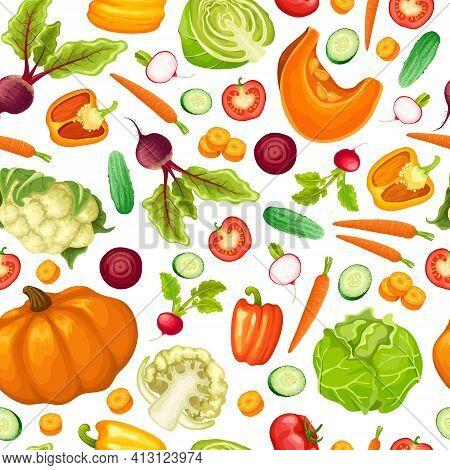 Cartoon Fresh Vegetables Seamless Pattern With Beet Pepper Cabbage Cauliflower Tomato Carrot Pumpkin