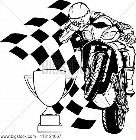 Draw In Black And White Of Riders On Sport Motorbike With Cup And Race Flag