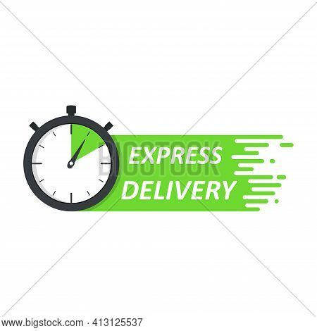 Express Delivery Green Logo Concept. Stopwatch Icon For Express Service. Template Design For Service