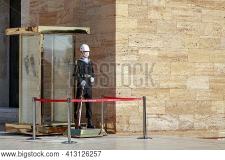 Ankara, Turkey - October 12, 2020: This Is A Sailor On The Guard Of Honor At The Mausoleum Of Atatur