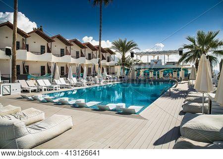 Turkey, Alanya - October 20, 2020: One of most popular seaside resorts In Ahmet Tokus Boulevard in  Alanya, Turkey.