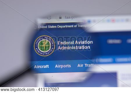 New York, Usa - 18 March 2021: Federal Aviation Administration Faa.gov Company Logo Icon On Website,