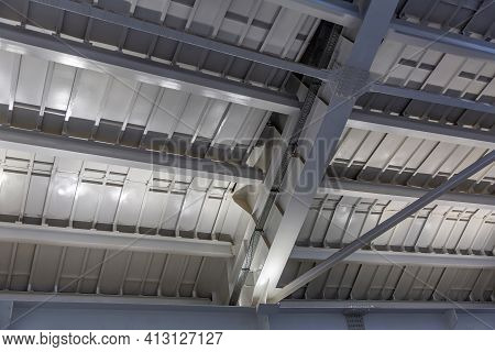 Gray Solid Metal Construction For Roof Support