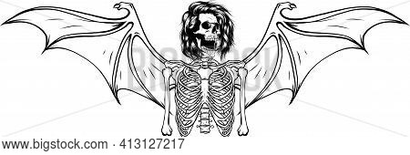 Draw In Black And White Of Human Skeleton With Bat Wings Vector Illustration