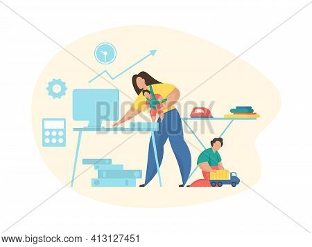 Life Balance. Balancing Work And Home Concept Vector Illustration