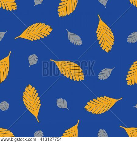 Simple Elm Leaf Seamless Vector Pattern Background. Hand Drawn Orange And Grey Single Leaves On Coba