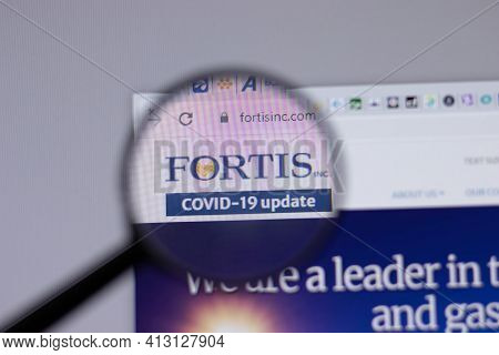 New York, Usa - 18 March 2021: Fortis Company Logo Icon On Website, Illustrative Editorial