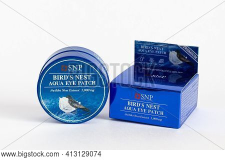 Russia, Rostov-on-don, 05.07.2018 Korean Cosmetics, Rejuvenating Hydrogel Eye Patches With Swallow N