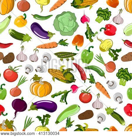 Vector Pattern From Vegetables.multicolored Vegetables On A White Background In A Seamless Pattern.
