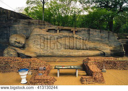 Reclining Buddha Statue, Gal Vihara At Polonnaruwa, Sri Lanka