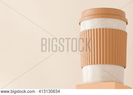Reusable Cup, Biodegradable Travel Plastic Coffee Mug On Platform Showcase. Bamboo Eco Friendly Cup