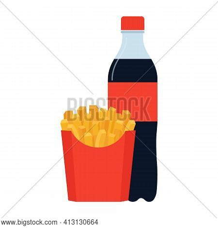 Fastfood Bottle Of Soda In Plastic Packaging And Fry Potato In Red Box. French, Fried Meal In Packag