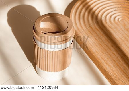 Sustainable Bamboo Eco Friendly Cup On Natural Shadow Beige Background. Reusable Cup, Biodegradable