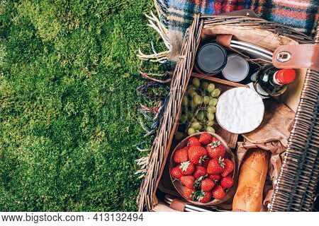 Picnic Set With Fruit, Cheese, Honey, Strawberries, Grapes, Baguette, Wine, Wicker Basket For Picnic