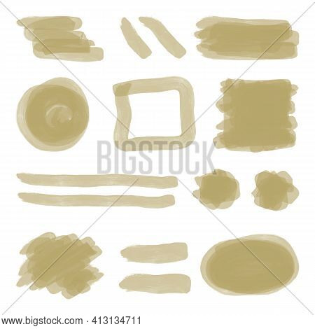 A Set Of Olive Beige Brush Strokes And Spots On A White Background. Color Japanesse Marker Or Waterc