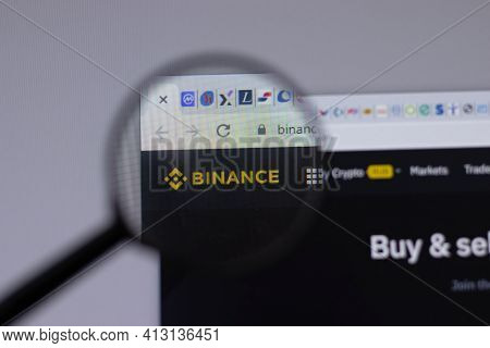 New York, Usa - 18 March 2021: Binance Company Logo Icon On Website, Illustrative Editorial