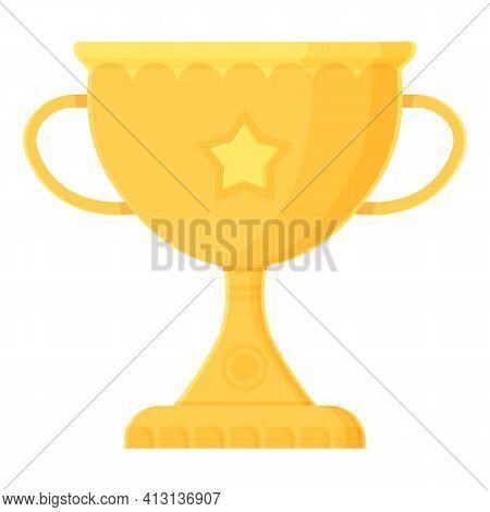Cartoon Winner Prize. Golden Trophy With Crown. Prize, Success, Competition, Achievement, Congratula
