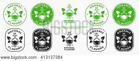Conceptual Marks For Product Packaging. Labeling - Organic Flavors. The Brand With The Flask Icon Wi