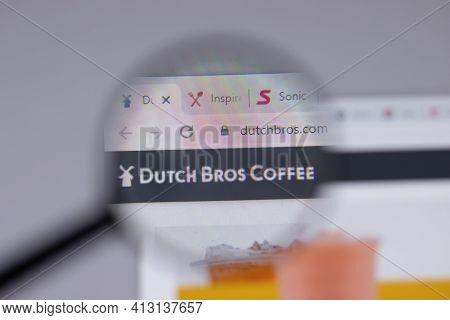 New York, Usa - 18 March 2021: Dutch Bros Coffee Company Logo Icon On Website, Illustrative Editoria