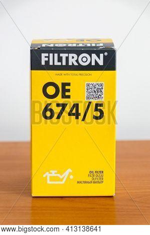 Pruszcz Gdanski, Poland - March 18, 2021: Filtron Oe 674 5 Oil Filter.