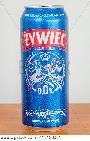 Pruszcz Gdanski, Poland - March 18, 2021: Zywiec Alcohol Free Beer.
