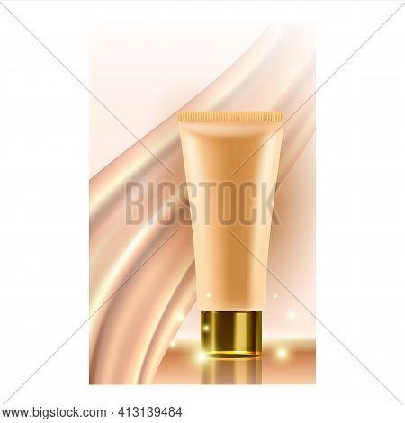 Concealer Cream Tube Promotional Poster Vector Illustration