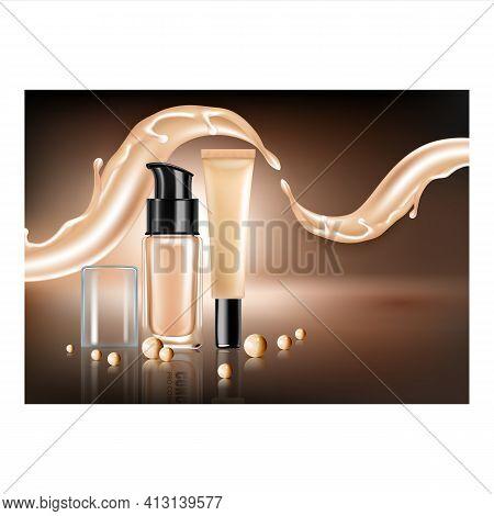 Concealer Makeup Cream Promotional Banner Vector Illustration