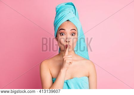 Photo Of Young Attractive Girl Amazed Shocked Gesture Show Silent Shh No Talk Secret Rumor Sign Isol