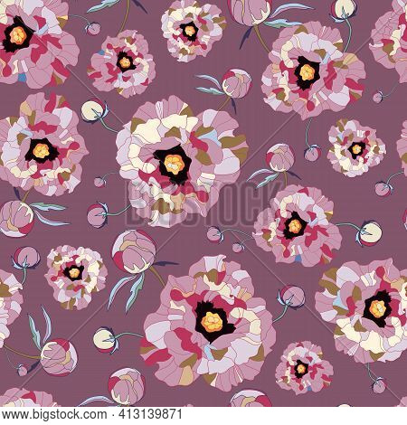 Seamless Floral Vector Pattern Peony. Flowers Peonies Vintage Background, Texture, Print. Drawn On P