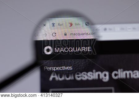 New York, Usa - 18 March 2021: Macquarie Group Company Logo Icon On Website, Illustrative Editorial